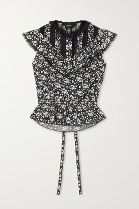 Marc Jacobs Lace-paneled Ruffled Floral-print Cotton-poplin Top - Black