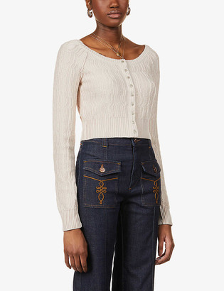 Free People Mimi cropped knitted cardigan