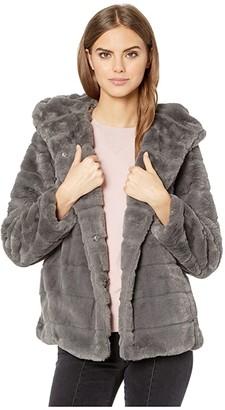 Apparis Goldie 3 Hooded Faux Fur Coat (Navy Blue) Women's Jacket