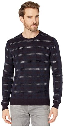 Perry Ellis Wool Blend Plaid Long Sleeve Sweater (Dark Sapphire) Men's Clothing