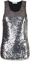 Pierre Balmain glimmer metallion tank top - women - Cotton/Polyamide - 40