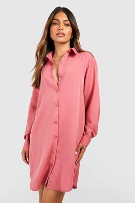 boohoo Oversized Dippped Hem Shirt Dress