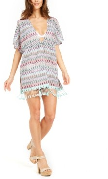 Miken Printed Crochet Fringed Caftan Cover-Up, Created for Macy's Women's Swimsuit