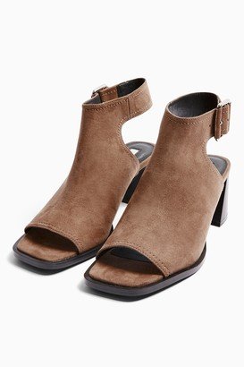 Topshop Womens Daisy Taupe Buckle Shoe Boots - Taupe