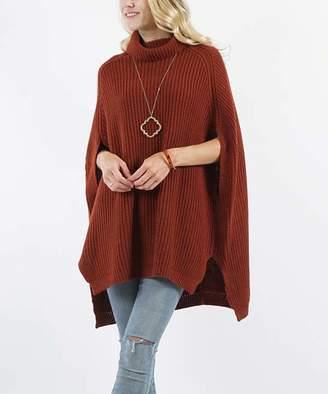 Lydiane Women's Ponchos DK - Dark Rust Turtleneck Side-Slit Oversize Poncho Sweater - Women