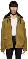 Saint Laurent Tan Oversized Suede Shearling Jacket