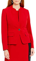 Kasper Stretch Crepe One-Button Solid Jacket