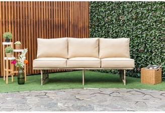 Bay Isle Home Dakota Outdoor Rattan Patio Sofa with Cushions Cushion Color: Beige