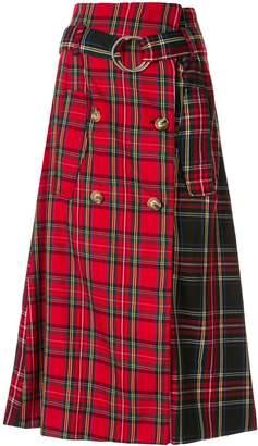 Andrea Crews tartan A-line midi skirt