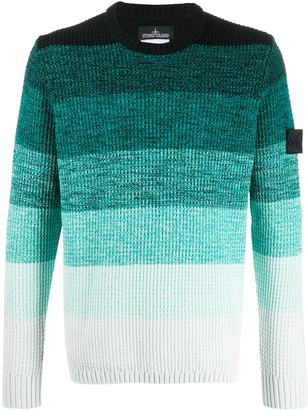 Stone Island Shadow Project Gradient Effect Chunky Knit Jumper