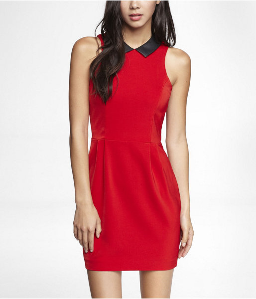 Express (Minus The) Leather Collar Pleated Waist Dress