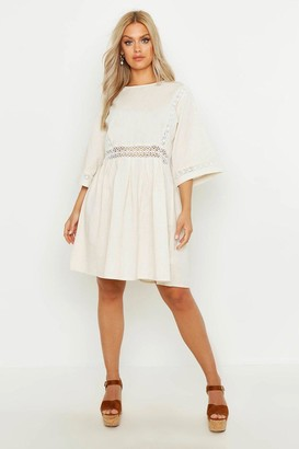 boohoo Plus Crochet Lace Linen Smock Dress