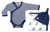 Infant Monica + Andy 'Classic Ii - Cuddle Box' Kimono Bodysuit, Blanket & Hat Set