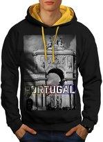 Portugal Lisbon Gate Landmark Men XL Contrast Hoodie | Wellcoda