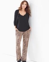 Soma Intimates 3-Piece Cardi Pajama Set Jaguar Mini Neutral Black