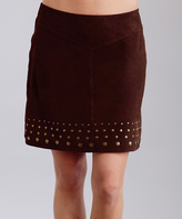 Stetson Brown Embellished Suede Skirt - Women