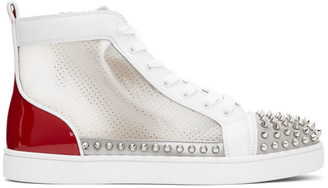 Christian Louboutin Red and White Sosoxy Spikes High-Top Sneakers