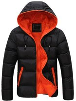 LANBAOSI Men's Winter Puffy Down Jacket Thicken Outwear Coat with Hood