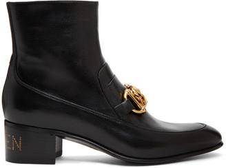 Gucci Black Kitten Horsebit Chain Boots