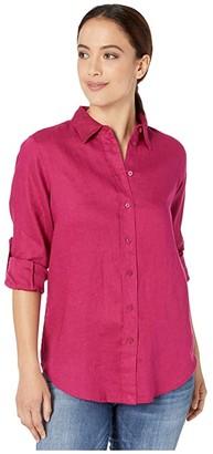 Lauren Ralph Lauren Petite Linen Shirt (Bright Fuchsia) Women's Clothing