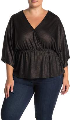 GOOD LUCK GEM Metallic Knit Surplice 3/4 Sleeve Top (Plus Size)