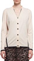 Lanvin Striped-Trim V-Neck Cardigan