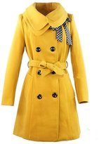 KMFEEL Women Wool Blend Coat Slim Trench Long Jacket with Belt Large Grey