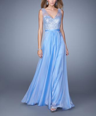 La Femme Women's Special Occasion Dresses Violet - Violet Sheer-Overlay V-Neck Gown - Women