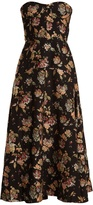 Rochas Floral-jacquard strapless dress