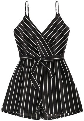 AOGOTO Womens Strappy Striped Playsuit Bandage Bodysuit Party Jumpsuit Clubwear Romper