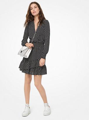 Michael Kors Dot Crepe Ruffled Dress