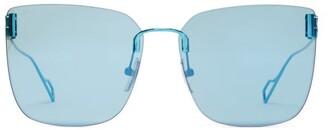 Balenciaga Square Metal Sunglasses - Blue