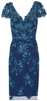 Marchesa Sequin-embellished Embroidered Tulle Dress - Navy