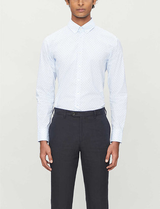 BOSS Geometric-print slim-fit cotton-blend shirt