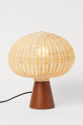 H&M Wooden and rattan table lamp