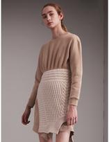 Burberry Cashmere Cable Knit Panel Sweatshirt Dress