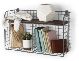 Spectrum Vintage-like Living Wall Mount Double Bin with Wood Shelf