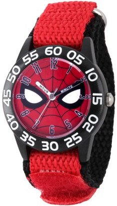 Marvel Spider-Man Boys' Black Plastic Time Teacher Watch, Red Hook and Loop Nylon Strap with Black Backing