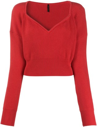 Unravel Project Cropped Ribbed-Knit Jumper