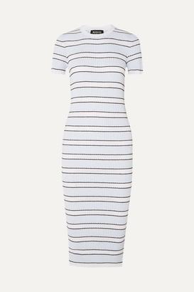 Markus Lupfer Mary Striped Plisse-knit Midi Dress - Blue