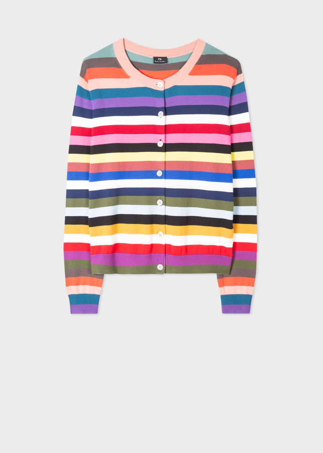 Paul Smith Women's Multi-Colour Stripe Cotton Cardigan