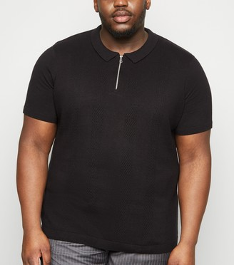 New Look Plus Size Zip Front Stitch Polo Shirt