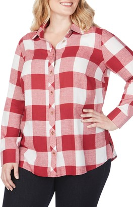 Foxcroft Rhea Buffalo Check Brushed Cotton Blend Shirt