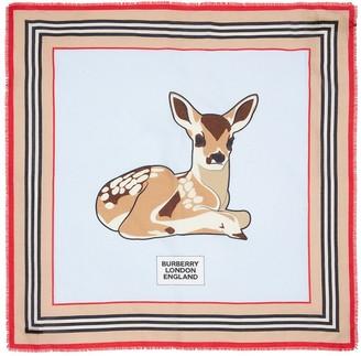 Burberry Bambi Print Cotton & Silk Scarf