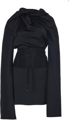 Ellery Bonaire Corset-Waist Satin Mini Dress