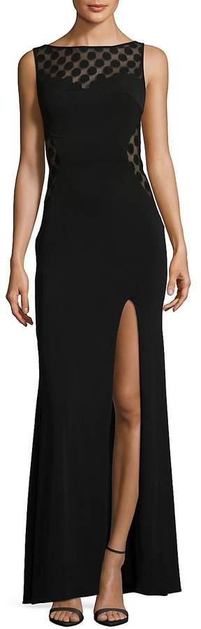 La Femme Women's Bateau Neckline Floor-Length Dress