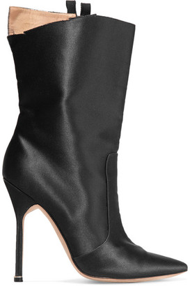 Vetements + Manolo Blahnik Cutout Satin Boots - Black