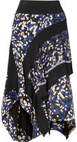 3.1 Phillip Lim Asymmetric Printed Silk Crepe De Chine Midi Skirt - Black