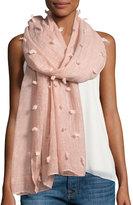 Neiman Marcus Allover Tufts Lightweight Scarf, Pink