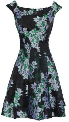 Zac Posen Flared Floral-jacquard Mini Dress